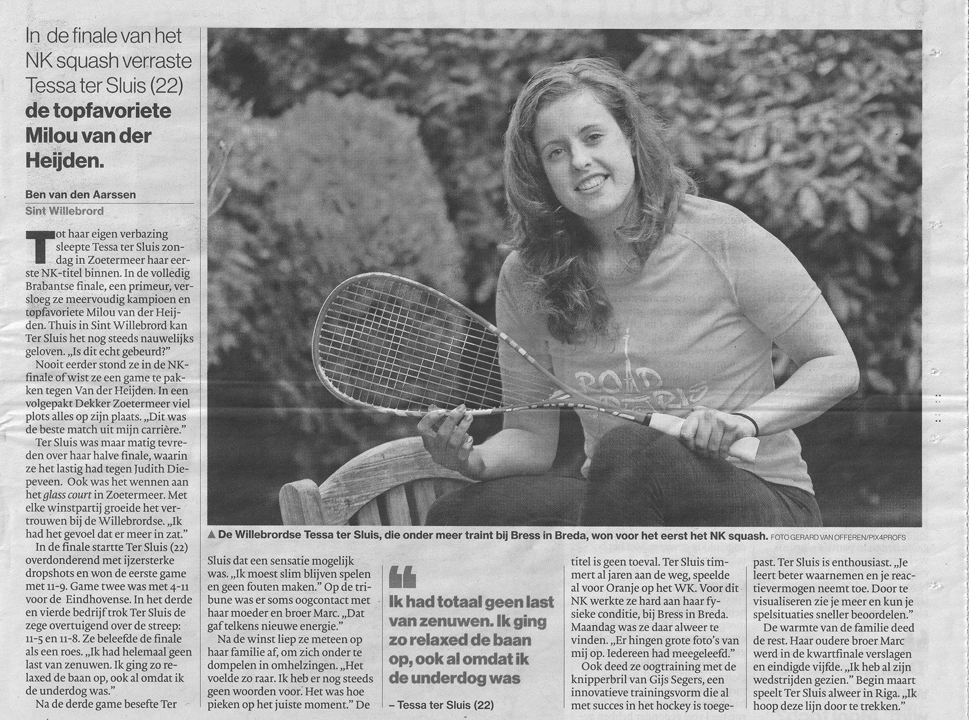 Tessa ter Sluis Nederlands Kampioen Squash 2017